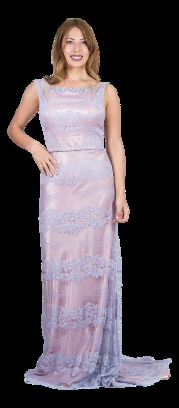 a82136333 Delicado vestido largo en raso y encaje con cola de Evassé by Costura  Europea. Modelo confeccionado en raso de tono roa cuarzo con sobre capa de  encaje ...